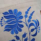 Veľké tašky - Ľanová taška na veľ. A4 / folk kvety modré - 10834034_