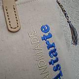 Veľké tašky - Ľanová taška na veľ. A4 / folk kvety modré - 10834040_