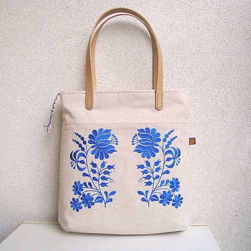Ľanová taška na veľ. A4 / folk kvety modré