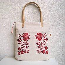 Veľké tašky - Ľanová taška na veľ. A4 / folk kvety červené - 10834059_