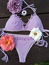 Bielizeň/Plavky - Háčkovné plavky so srdiečkami - 10834498_