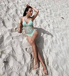 Bielizeň/Plavky - Háčkované plavky celé s krajkou - 10834539_