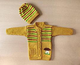 Detské súpravy - Detský svetrík s hríbikom + čiapka - 10834573_