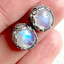 Náušnice - Floral Moonstone Stud Earrings AG925 / Strieborné napichovacie náušnice s mesačným kameňom - 10835676_