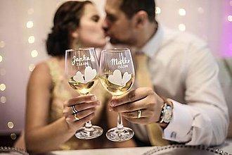 Nádoby - Svadobné poháre - srdiečka - 10837265_