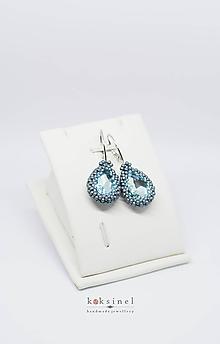 Náušnice - Kvapky Modré - 10837238_