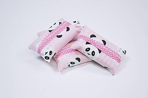 Prenosný obal / zásobník na papierové vreckovky ružové pandy