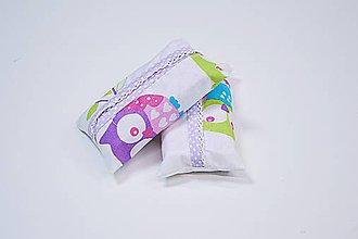 Iné tašky - Prenosný obal / zásobník na papierové vreckovky ružové sovičky - 10835547_