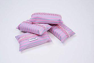 Iné tašky - Prenosný obal / zásobník na papierové vreckovky ružovo-sivé pásiky - 10835549_