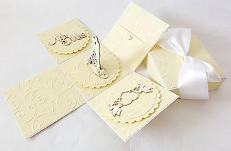 Krabičky - exploding box - darčeková krabička svadobná - 10836737_