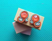 Kolorky - soutache earring - ručne šité šujtášové náušnice (Oranžové kolorky - soutache earring - ručne šité šujtášové náušnice)