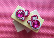 Kolorky - soutache earring - ručne šité šujtášové náušnice (Malinové kolorky - soutache earring - ručne šité šujtášové náušnice)