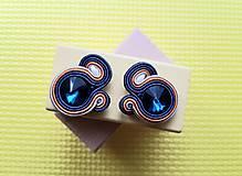 Kolorky - soutache earring - ručne šité šujtášové náušnice (Indigové kolorky - soutache earring - ručne šité šujtášové náušnice)