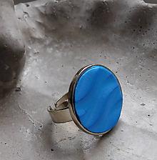 Prstene - prstienok vlnky modrý - 10837369_