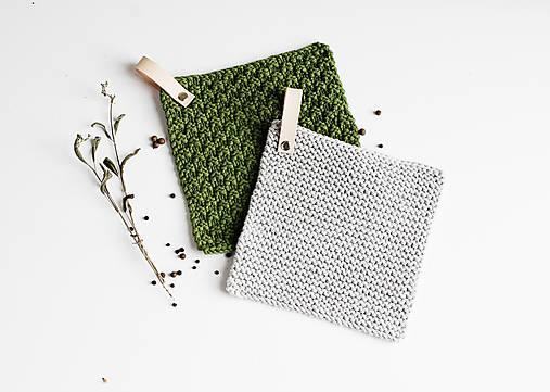 Úžitkový textil - Chňapka II EXTRA hrubá - olivová/sivá - 10836793_
