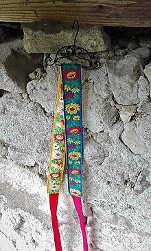 Opasky - Obojstranný folk opasok_ žltá / modrá s kvetmi - 10837632_