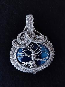 Náhrdelníky - Prívesok strom života -ónyx pruhový modrý -postriebrený Ag 925/1000 - 10837470_