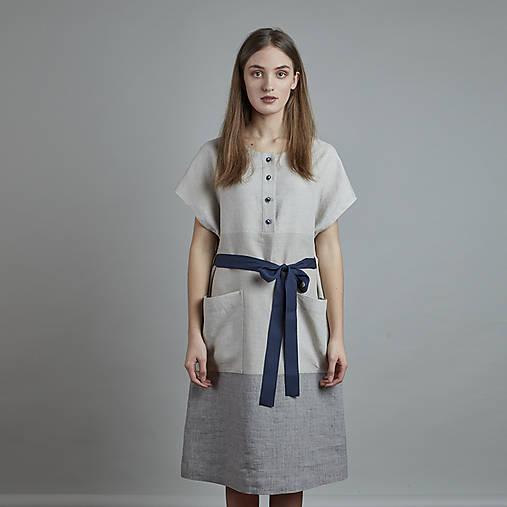 Šaty - ľanové šaty BEJA - 10837404_