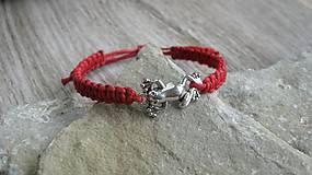 Detské doplnky - Pletený náramok detský (červený žabka, č. 2723) - 10836358_