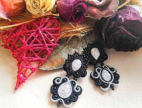 Náušnice - elegantné čierne šujtašové náušnice - 10836417_