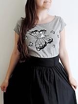 Tričká - Tričko - na krídlach motýlích, šedé - 10836220_