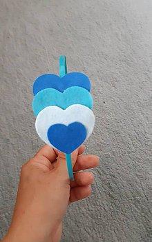 Detské doplnky - Čelenka srdiečka (modrá) - 10837669_