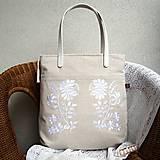 - !!! ZĽAVA!!! Ľanová taška na veľ. A4 / folk kvety biele - 10836373_