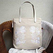 Veľké tašky - Ľanová taška na veľ. A4 / folk kvety biele - 10836373_