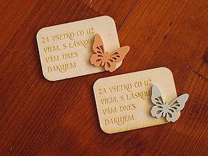 Magnetky - Drevená magnetka s motýľom a textom pre učiteľky - 10835385_