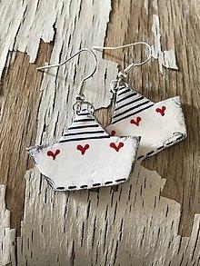 Náušnice - námornícke lodičky so ♥ - 10835502_