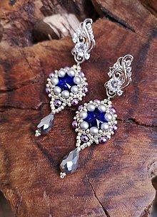 Náušnice - Šité náušnice modro-strieborné, Swarovski, mosadz - 10836610_