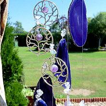 Dekorácie - Achátová zvonkohra fialová * Ametystový strom Života - 10838356_