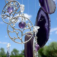 Dekorácie - Achátová zvonkohra fial * Fluoritový strom Života - 10838991_