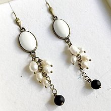 Náušnice - Bronze Onyx, Jade & Pearls Dangle Earrings / Náušnice jadeit, perly, ónyx - 10838445_
