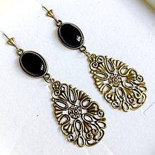 Náušnice - Black Agate Filigree Dangle Earrings / Náušnice achát, filigrány bronz - 10838457_