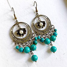 Náušnice - Tyrkenite Seashell Filigree Dangle Earrings / Náušnice tyrkenit, filigrány bronz - 10838477_