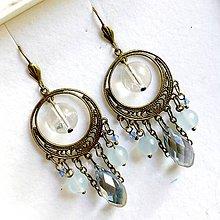 Náušnice - Quartz, Jade, Briolette Filigree Dangle Earrings / Náušnice krištáľ, jadeit, brioletka - 10838550_