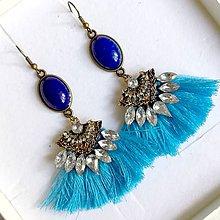 Náušnice - Bronze Lapis Lazuli Tassel Dangle Earrings / Náušnice lapis lazuli - 10838564_