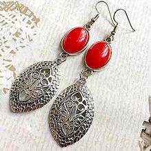 Náušnice - Red Jade Filigree Dangle Earrings / Náušnice jadeit, filigrány - 10839215_