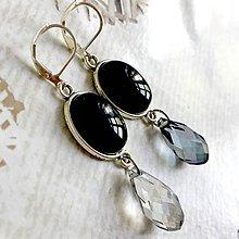 Náušnice - Black Agate Briolette Dangle Earrings / Náušnice čierny achát, brioletky - 10839255_