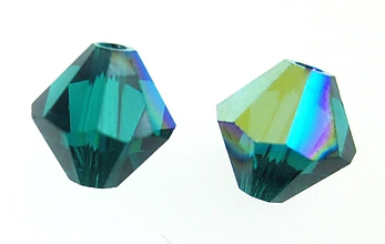 Korálky - Brusena sklenena koralka / BICONE 4mm (Zelená) - 10838250_