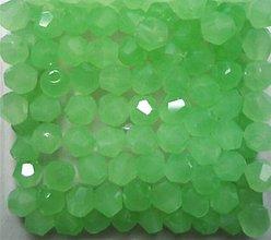Korálky - Brusena sklenena koralka / BICONE 4mm (Zelená) - 10838282_