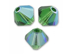 Korálky - Brusena sklenena koralka / BICONE 4mm (Zelená) - 10838340_