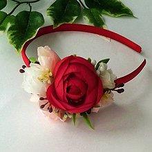 Ozdoby do vlasov - Kvetinková čelenka červená - 10839236_