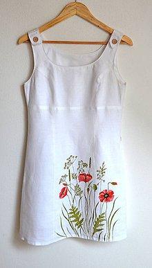 Šaty - Ľanové šaty-recy-ručne maľované - 10839627_