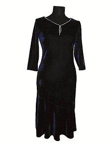 Šaty - zamatové šaty (Modrá) - 10840498_