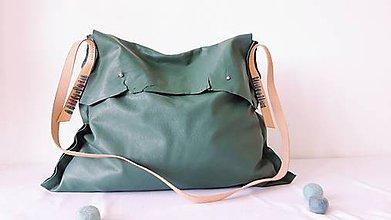 Veľké tašky - Kožená taška veľká-domčeky - 10839344_