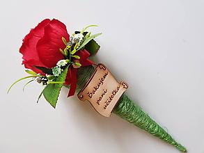 Dekorácie - ruža pre pani učiteľku s poďakovaním v kornútku - 10838240_
