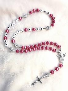 Náhrdelníky - Ruženec perl. so shamballa  (Tmavý cyklámen s anjelom) - 10838432_