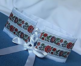 Opasky - svadobný korzetový biely dámsky opasok - 10839999_